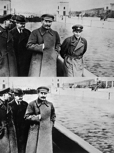 """Nikolai Yezhov, father of the Soviet Stalin-era purge, is """"removed"""" from the second photo following his execution."""